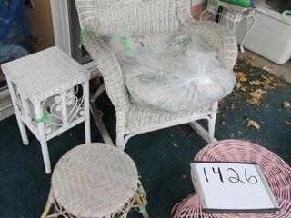 lot of wicker furnishings  rocker  table   2 stool