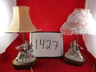 Pair of Character porcelain boudoir lamps