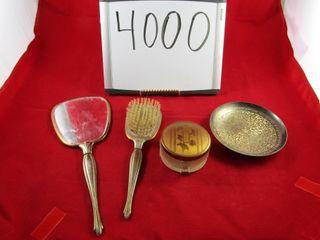 Dresser Set  Mirror  brush and dresser jar