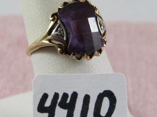 10 kt y g size 6 amethyst   diamonds tested