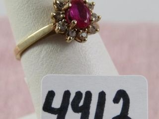 10 kt  ruby and clear stones  size 5 5   2 34 g