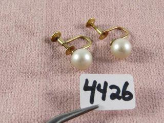 Birks pearl earrings screw on 14 kt