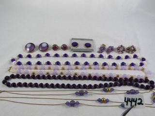 Fashion Jewellery  4 Purple Necklaces   Earrings