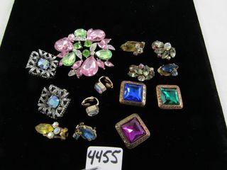 Bling lot  brooch   vintage clip earrings  button