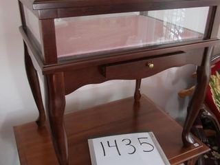 Bombay Co  wooden and glass display table