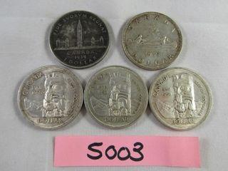 5 Canadian Silver Dollar 1 x 1939  1953  3 x 1958