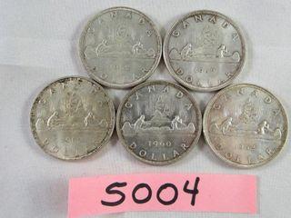 Canadian Silver Dollar  1 x 1960   4 x 1962