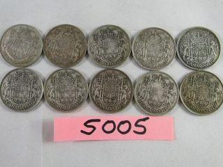 Canadian Silver Half Dollar  5 x 1940   5 x 1941