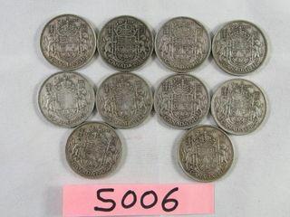 10 Canadian Silver Half Dollar  4 x 1941