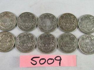 10  Canadian half dollar 10 x 1943