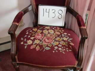 Victorian arm chair with needlepoint seat