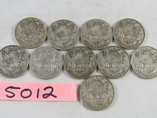 10  Canadian half dollars  4x 1944