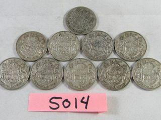 10 Canadian half dollar  1 x 1940  9 x 1950