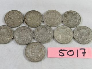 10   Canadian half dollars  9 x 1952