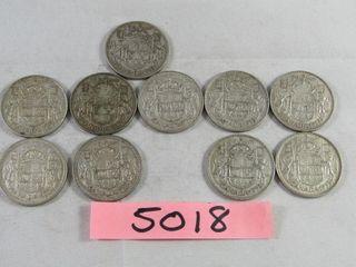 10  Canadian Half dollars 1x 1943  2 x 1955
