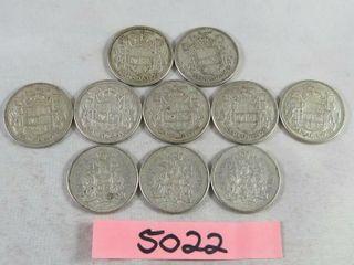 10  Canadian Half Dollars 7 x 1958   3  x 1959