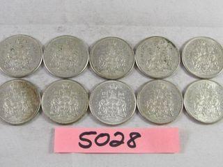 10  Canadian Half Dollars 10 x 1961