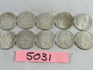 10  Canadian Half Dollars 10 x 1962