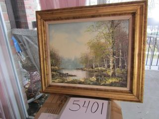 Oil on canvas framed landscape 16  x 20 picture
