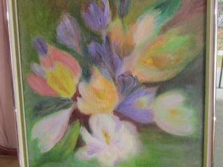 Oil on canvas  framed signed  floral