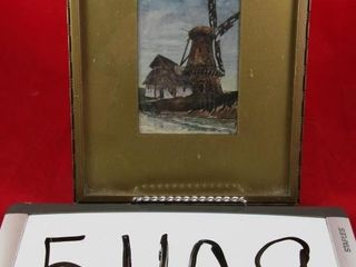 Dutch watercolour framed 5  x 3  picture only