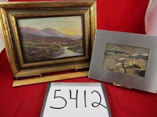 Oriental metal picture  landscape  signed WG
