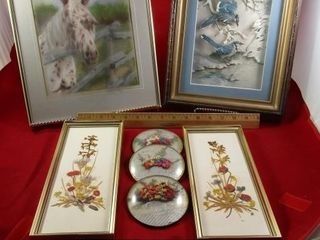 3 D blue jay by Irene  framed dried florals  Horse