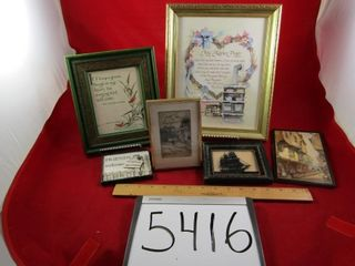 Assorted framed prints  Reverse painted Ship