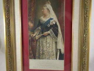 Queen Victoria print 13  H x 6 25  W plus frame