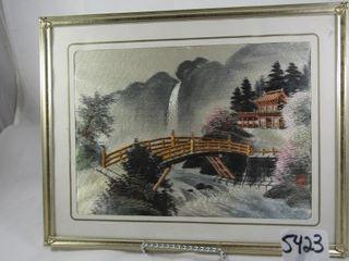 Oriental silk needlecraft picture signed