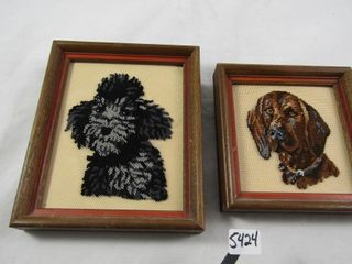 2 petit point pictures of dogs  poodle