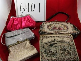 5 evening bags including Italian Tapestry