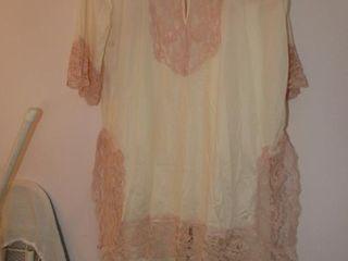 Vintage pyjamas 100  nylon with pink lace size M