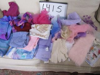 Group of scarves  mohair collar  gloves