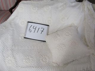 Twin lace bedspread and matching pillow