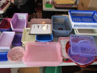 Group of plastic baskets and trays