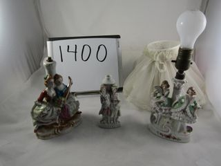 Three figural porcelain lamps