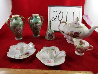 lot   lustre pair of vases  lustre diinner bell