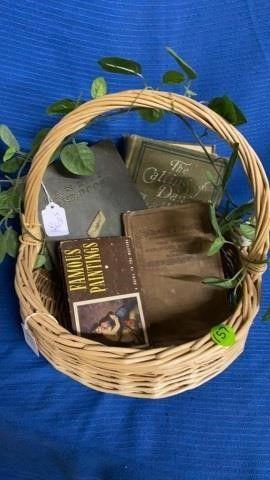BASKET WITH VINTAGE BOOKS