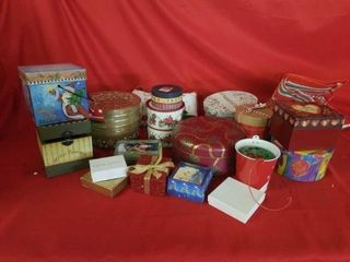 A BOX OF HOlIDAY TINS AND BOXES