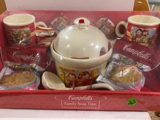 CAMPBEll SOUP KIT MUGS  AND SOUP BOWl WITH lADlE