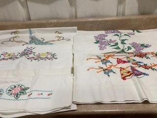 5 SETS OF HAND STITCHED PIllOWCASES