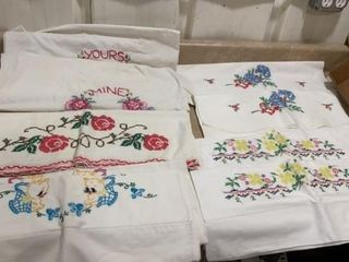 5 SETS OF HAND STITCHED PIllOW CASES