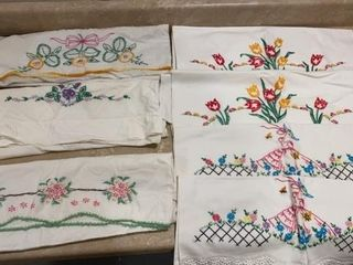 2 SETS AND 3 SINGlE HAND STITCHED PIllOW CASES