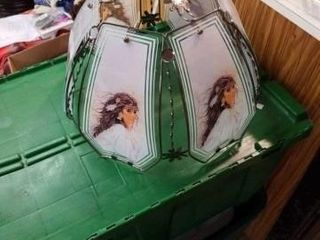 NATIVE AMERICAN GlASS lAMP SHADE