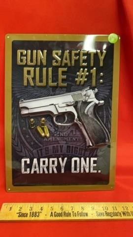 METAl SIGN  GUN SAFETY RUlE  1 CARRY ME