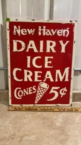 METAl SIGN  NEW HAVEN DAIRY ICE CREAM CONES