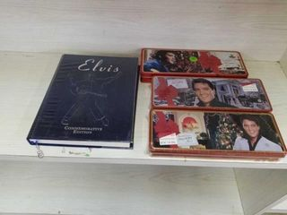 ElVIS COMMEMORATIVE BOOK AND 2 COllECTABlE TINS