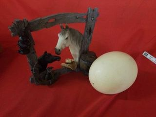 OSTRICH EGG  BEAUTIFUl HORSE DECORATION