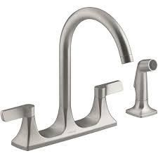 Kohler Maxton R22869 Stainless 2 handle Deck Mount High arc Kitchen Faucet